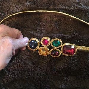 Necklace, gold tone vintage stretch
